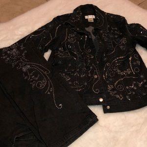 Susan Bristol denim pant and jacket set